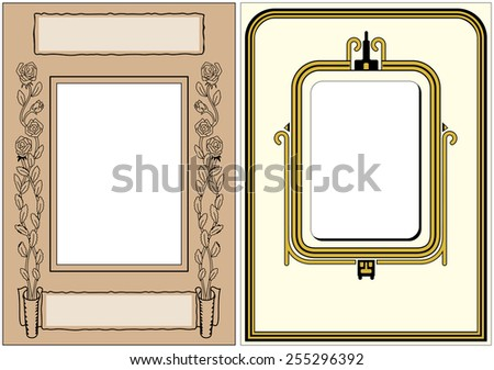 Two Vintage Photo Frames ready for your photo to be dropped in - stock vector