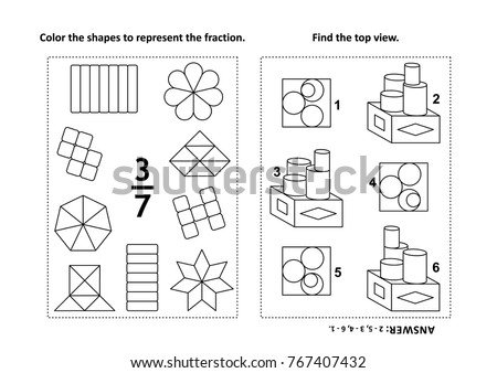Two Visual Math Puzzles Coloring Pages Stock Vector (2018) 767407432 ...