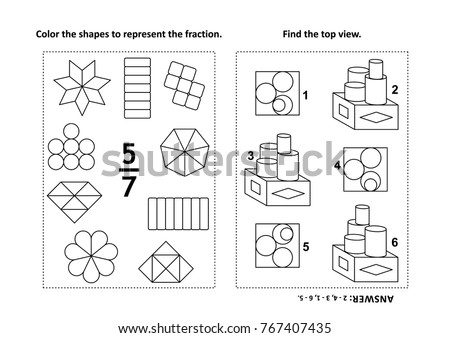 Two Visual Math Puzzles Coloring Pages Stock Vector 767407435 ...