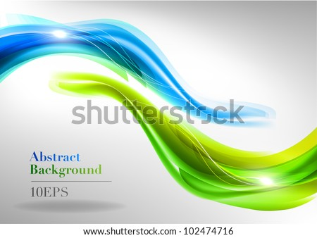 two wave on the light background - stock vector