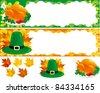 Two web banners for thanksgiving . Hat, Turkey-cock and  autumn leaves. There are no meshes in this image. - stock vector