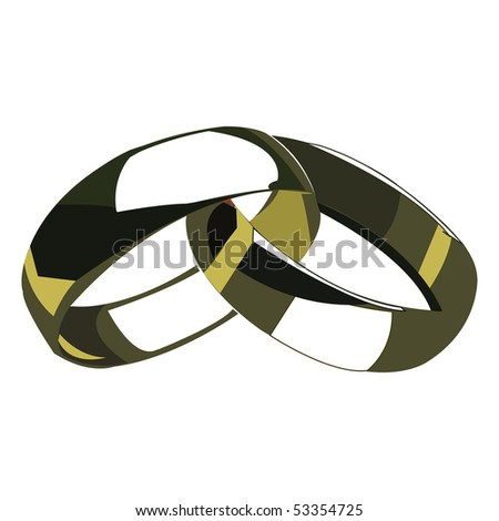 Two wedding rings - stock vector