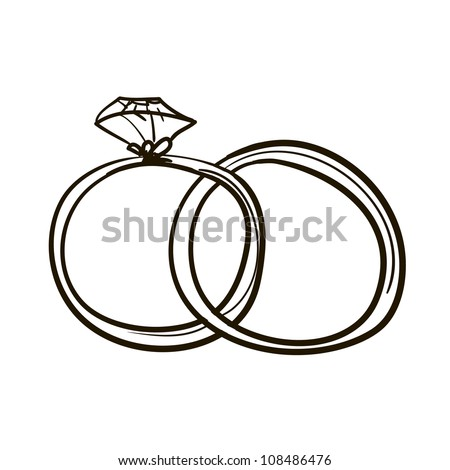 Two wedding rings. A children's sketch - stock vector