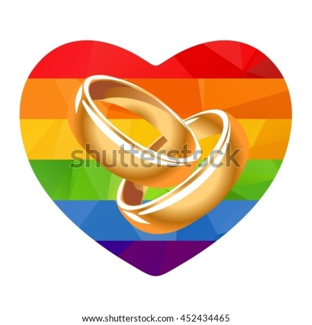 Two Wedding Rings Rainbow Heartisolated On Stock Vector Hd Royalty