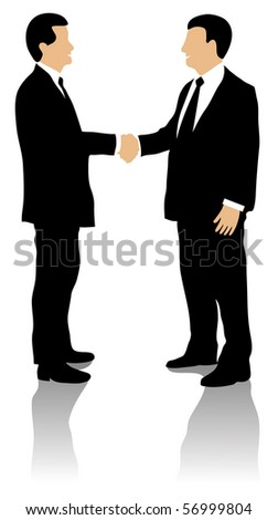 Two well dressed business men shaking hands and greeting each other, on white background. - stock vector