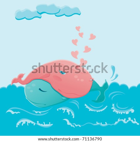 Two whales in love hugging each other in the blue sea. Vector illustration - stock vector