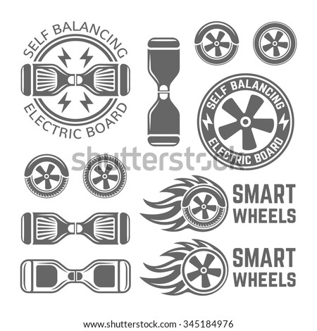 Two wheel self balancing electric scooter, or electric skateboard set of monochrome vector labels, badges, emblems and design elements isolated on white background - stock vector