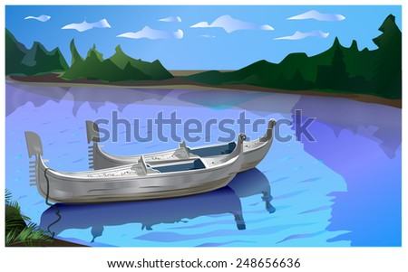 Two white boat on the river. - stock vector