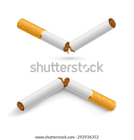 Two white broken cigarettes on a white background - stock vector