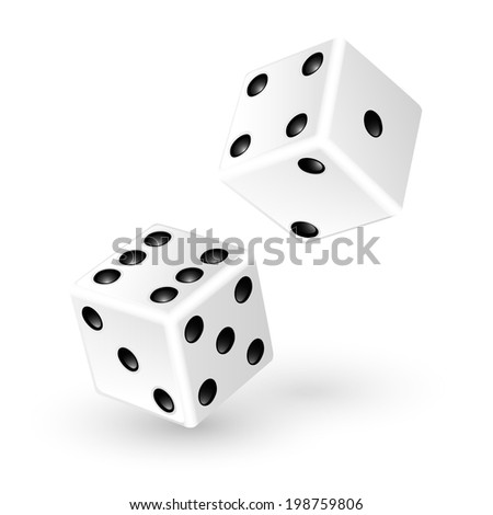 Two white dice isolated on white background. Vector illustration