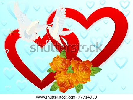 Two white doves flying in the background of two hearts and a bouquet of red roses. - stock vector
