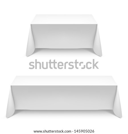 Two white rectangular with table tablecloth. Illustration on white - stock vector