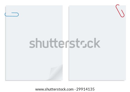Two white sheet of clipped papers - stock vector