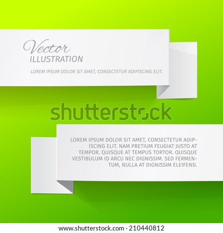 Two white sheets of paper on a green background. Origami vector banners.  - stock vector