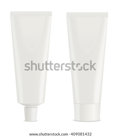 Two white toothpaste tube. Vector - stock vector
