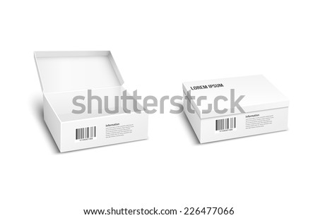 Two white vector packages or boxes  one with the lid open  the other closed  for storage of products and merchandise with an inventory barcode for mailing or dispatch - stock vector