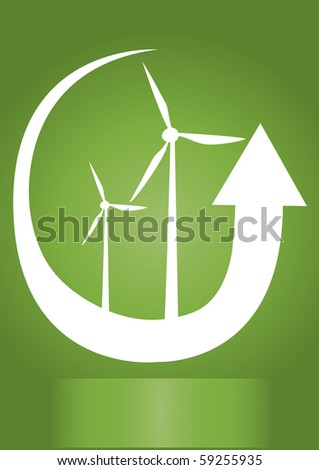 two wind generators with white arrow and green background - stock vector
