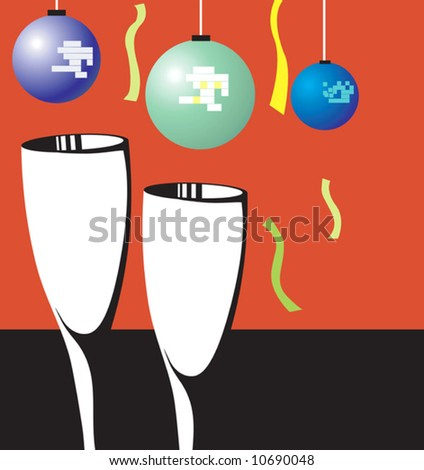 two wine glasses with balloons and ribbon
