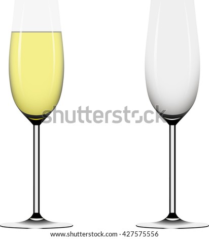 Two wineglass full and empty. Vector illustration