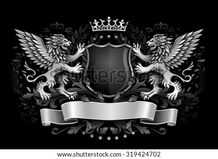 Two Winged Lions Holding Shield with Crown and Banner - stock vector