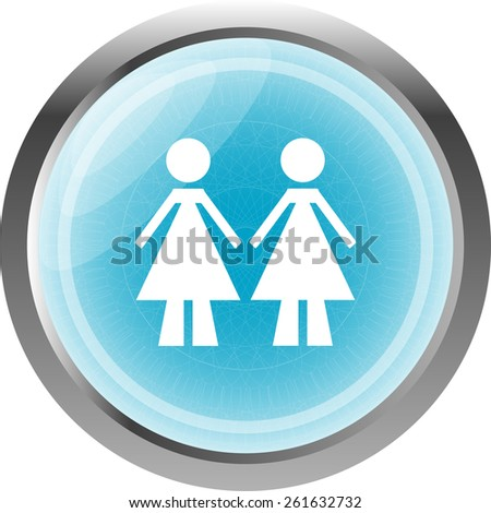 two woman glossy web icon on white background - stock vector