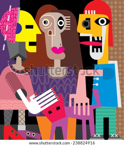 Two women, a man and a cat. Vector illustration. - stock vector