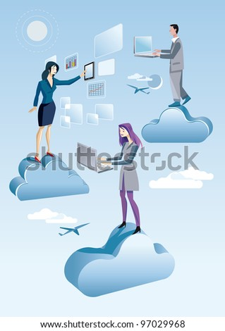 Two women and a man are working in the sky between clouds. they are working on the sky with computers and tablet, connected to Internet and are accessing cloud services. - stock vector