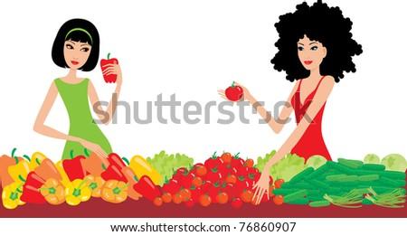 Two women buy vegetables. vector - stock vector