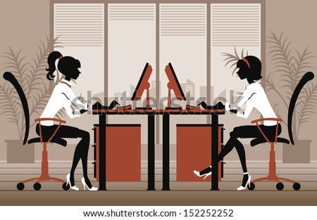 two women in office - stock vector