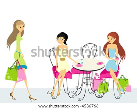 Two women, sitting in a cafe, waiting for third - stock vector