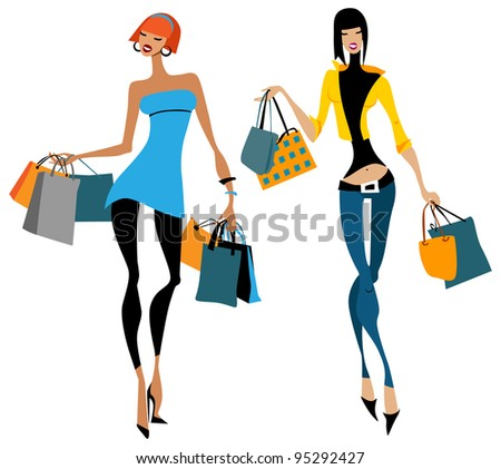 Two women with shopping bags.  Vector illustration Isolated - stock vector