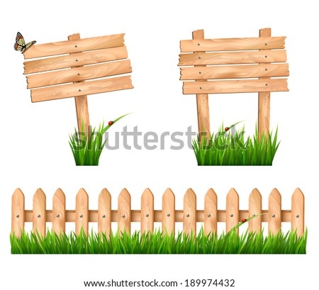 Two wooden signs and a fence with grass. Vector. - stock vector