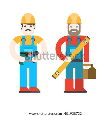 Two workers on white background. â??onstruction workers with repair tools. Building specialists vector illustration. Good builder in uniform. Service man.