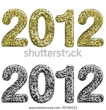 Two 2012 year made with glossy glitter - stock vector