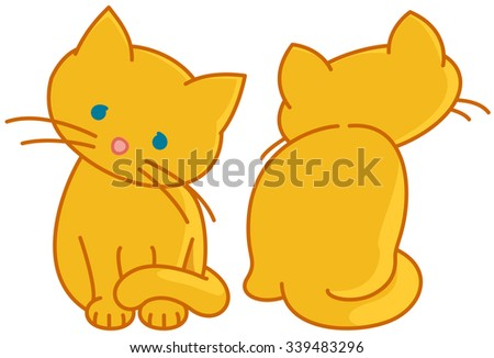 Two Yellow Cute Kittens. Vector Drawing of Two Yellow Cute Kittens. Illustrator 8, global colors, easily editable  neat work. - stock vector