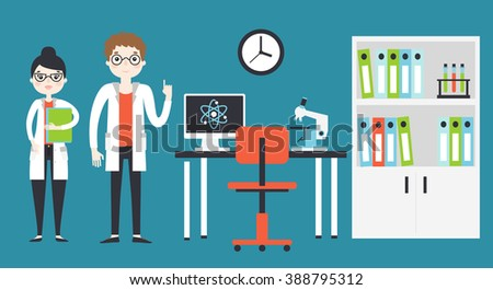 Two young chemistry scientists man and woman working in the lab with table, desktop computer, microscope, test glass tubes, cupboard with books. Flat style isolated vector illustration. - stock vector