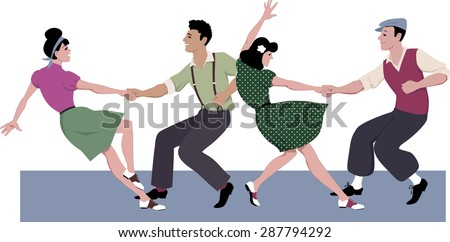 Two young couple dressed in 1940s fashion dancing lindy hop or swing in a formation, vector illustration, isolated on white, no transparencies, EPS 8 - stock vector
