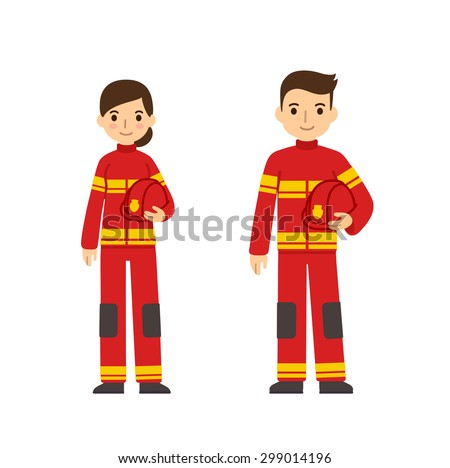 Two young firefighters, man and woman, in cute flat cartoon style. Isolated on white background. - stock vector