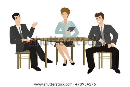 Two young men and woman-talking businessman at the table, vector illustration on a flat style