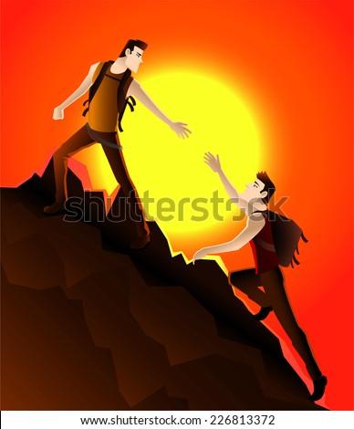 two young men Climbing a mountain - stock vector