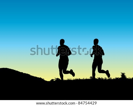 Two young men jogging - stock vector