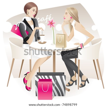 Two young women with shopping bags talking in the cafe - stock vector
