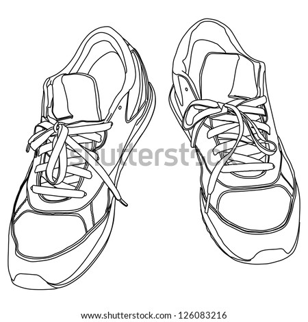 Tying sports shoes - stock vector