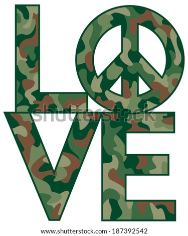 Type Design Love Peace Symbol Camouflage Stock Vector 187392542