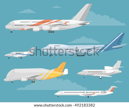 Type of airplane vector isolated. Airplane side view illustration. Modern types of airplane.