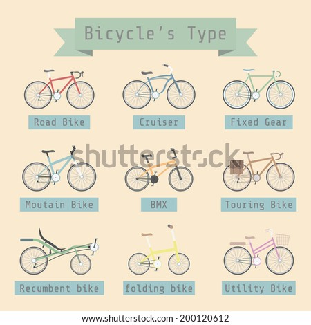 type of bicycle with description, flat style - stock vector