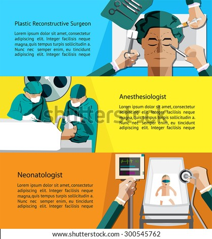 Type of specialist physicians doctor such as plastic reconstructive surgeon, anesthesiologist and neonatologist pediatrics infographic banner template layout background for website, create by vector  - stock vector