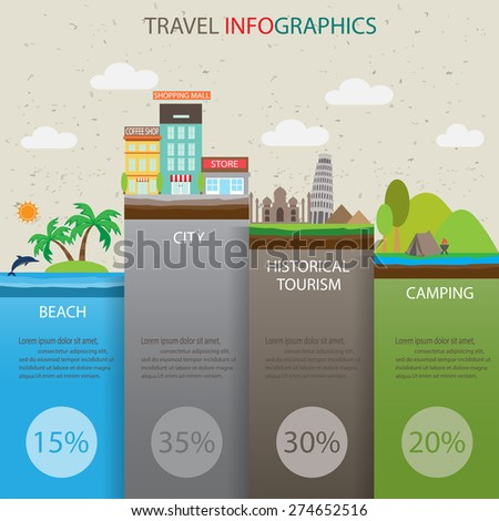 type of travel infographics background and elements. there are city, beach, camping and historical tourism. used for layout, banner, web design, statistic graph, brochure template. vector illustration - stock vector