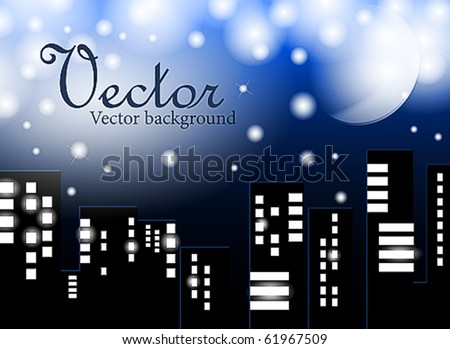 Type on a night city with the moon in the dark blue sky and brightly shining stars - stock vector