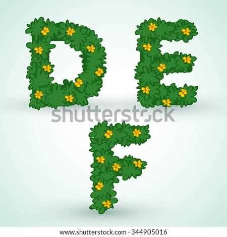 Type set With Green Leaves And Flowers : Vector Illustration